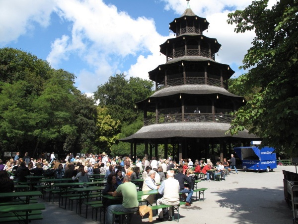 beer garden at the chinese tower munich mycityhighlight. Black Bedroom Furniture Sets. Home Design Ideas